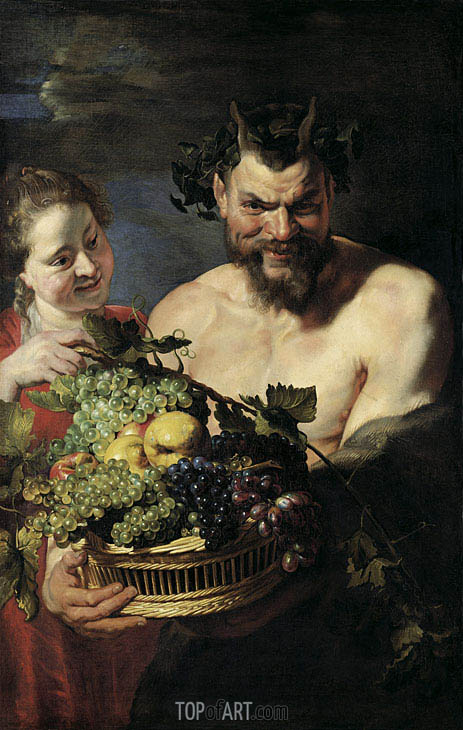 Satyr and Young Woman with Fruit Basket, 1615 | Rubens | Gemälde Reproduktion