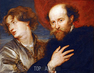 Double Portrait of van Dyck and Rubens, undated | Rubens | Painting Reproduction