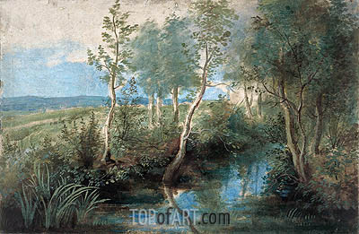 Landscape with Stream Overhung with Trees, c.1637/40 | Rubens | Gemälde Reproduktion