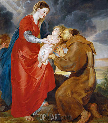 The Virgin Presents the Infant Jesus to Saint Francis, 1618 | Rubens| Painting Reproduction