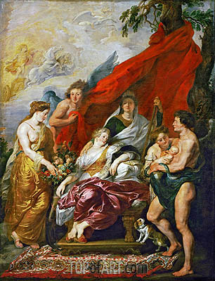 The Birth of Louis XIII at Fontainebleau, 27th September 1601 (The Medici Cycle), c.1621/25 | Rubens | Painting Reproduction