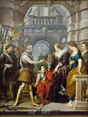 Henri IV Weggehen für den Krieg in Deutschland und der Verleihung der Regierung seines Königreichs, Maria von Medici 20. März 1610 (Der Medici Zyklus), c.1621/25 | Rubens | Gemälde Reproduktion