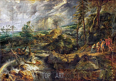 Rubens | Landscape in a thunderstorm with Philemon and Baucis, Jupiter and Mercury, c.1620/25