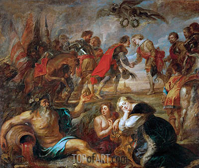 King Ferdinand of Hungary meets Cardinal Infant Ferdinand, Governor of the Spanish Netherlands before the Battle of Noerdlingen, c.1634/35 | Rubens| Painting Reproduction