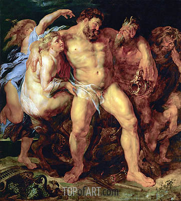 Drunk Hercules with Nymph and Satyr, c.1612/14 | Rubens | Gemälde Reproduktion