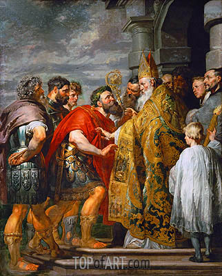 Saint Ambrosius and Emperor Theodosius, c.1615/16 | Rubens| Painting Reproduction