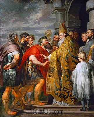 Hl. Ambrosius und Kaiser Theodosius, c.1615/16 | Rubens | Gemälde Reproduktion