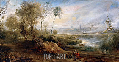 Landscape with Birdcatcher, undated | Rubens| Painting Reproduction