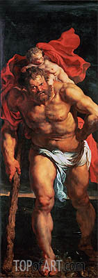 Saint Christopher (Descent from Cross Altarpiece - Closed Left Side), c.1611/14 | Rubens | Gemälde Reproduktion