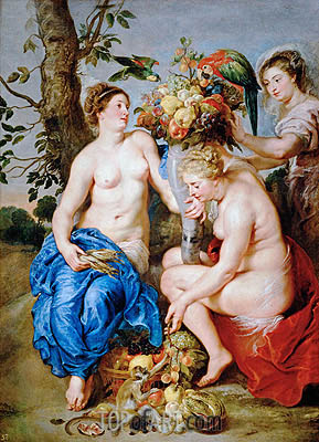 Ceres with Two Nymphs, c.1624 | Rubens | Gemälde Reproduktion