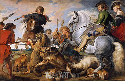 Wolf and Fox Hunt, c.1615/21 | Rubens | Gemälde Reproduktion