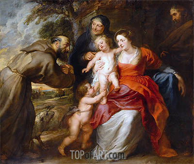 The Holy Family with Saints Francis and Anne and the Infant Saint John the Baptist, c.1630/35 | Rubens| Gemälde Reproduktion
