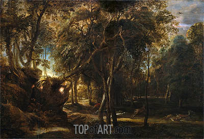 A Forest at Dawn with a Deer Hunt, c.1635 | Rubens | Gemälde Reproduktion