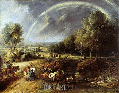 Landscape with Rainbow, c.1636 | Rubens | Gemälde Reproduktion