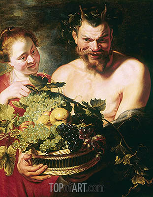 Faun and Nymph, c.1620 | Rubens | Painting Reproduction