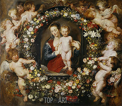 Virgin with a Garland of Flowers,  c.1618/20 | Rubens| Painting Reproduction