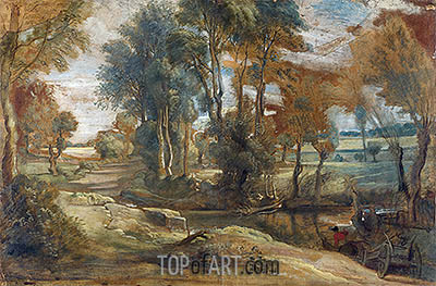 A Wagon fording a Stream, c.1625/40 | Rubens | Painting Reproduction