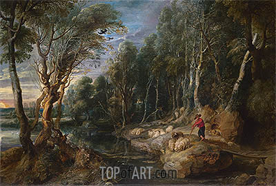 A Shepherd with his Flock in a Woody Landscape, c.1615/22 | Rubens | Gemälde Reproduktion