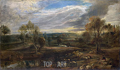 A Landscape with a Shepherd and his Flock, c.1638 | Rubens | Gemälde Reproduktion
