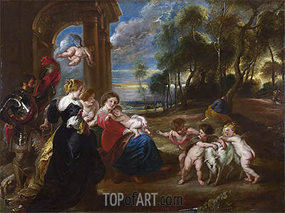 The Holy Family with Saints in a Landscape, c.1635/40 | Rubens | Gemälde Reproduktion