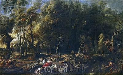 Atalanta and Meleager Hunting the Wild Boar of Calydon, c.1636 | Rubens| Painting Reproduction