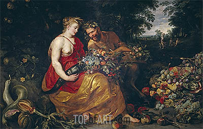 Ceres and Pan, c.1615 | Rubens | Painting Reproduction