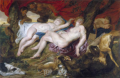 Diana and her Nymphs Spied upon by Satyrs, c.1616 | Rubens | Gemälde Reproduktion