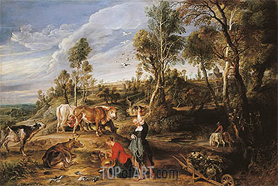 Milkmaids with Cattle in a Landscape (The Farm at Laken), c.1617/18 | Rubens| Painting Reproduction