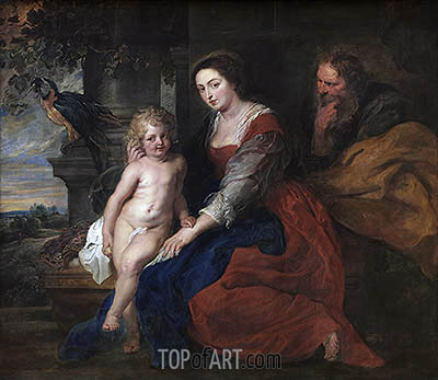 Holy Family with Parrot, c.1614 | Rubens | Gemälde Reproduktion