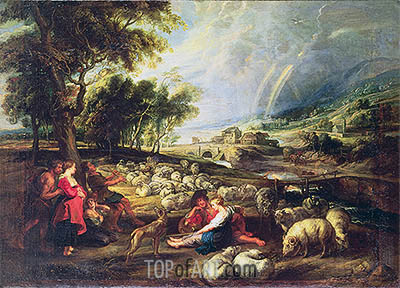 Landscape with Rainbow, undated | Rubens | Painting Reproduction