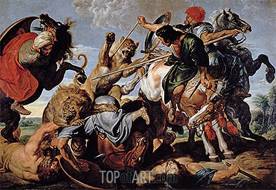 Lion Hunt, c.1616 | Rubens | Painting Reproduction
