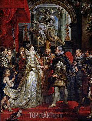 The Proxy Marriage of Marie de Medici and Henri IV 5th October 1600, c.1621/25 | Rubens | Painting Reproduction
