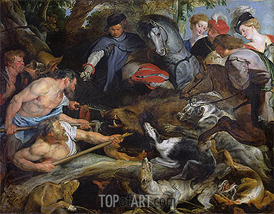 Hunting a Wild Boar, c.1615/16 | Rubens | Painting Reproduction
