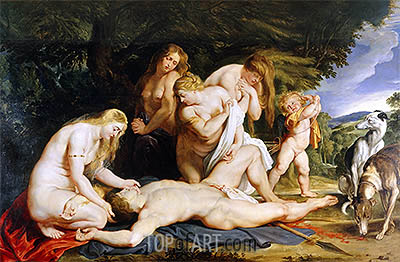 The Death of Adonis, c.1614 | Rubens | Gemälde Reproduktion