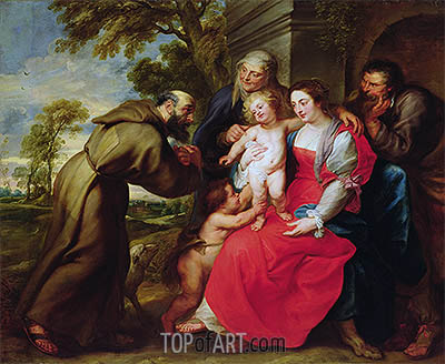 Holy Family with St. Francis, c.1625 | Rubens| Painting Reproduction