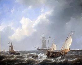 Seascape from the Zeeland Waters, near the Island of Schouwen, c.1825/27 by Petrus Schotel | Painting Reproduction