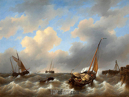 Petrus Schotel | Storm on the Zuiderzee Medemblik, 1840