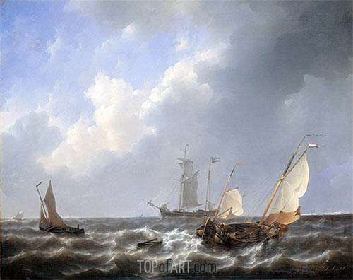 Petrus Schotel | Seascape from the Zeeland Waters, near the Island of Schouwen, c.1825/27