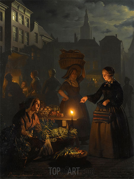 Petrus van Schendel | A Moonlit Vegetable Market, 1855