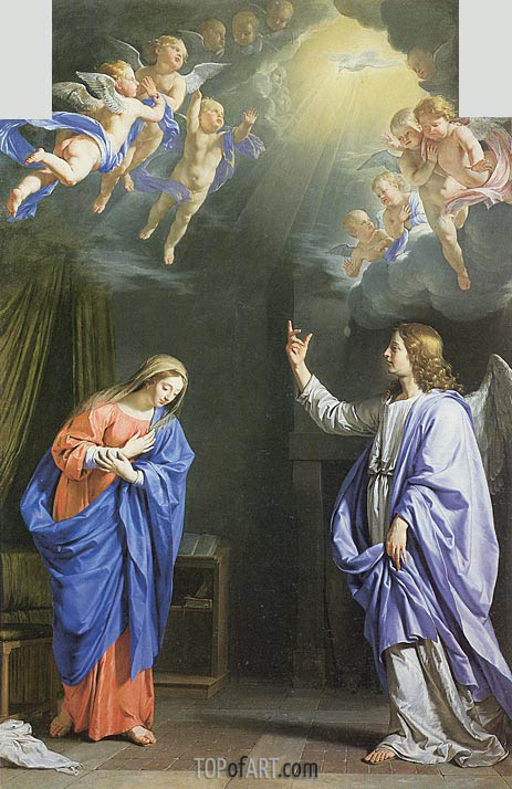 The Annunciation, c.1645 | Philippe de Champaigne | Painting Reproduction