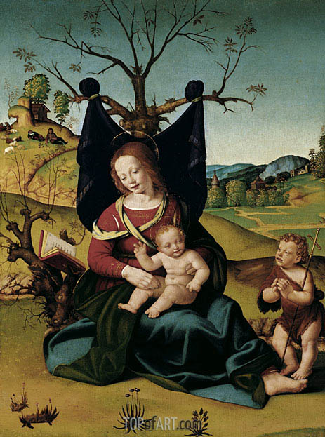 Madonna with Child and the Young St John, c.1505/10 | Piero di Cosimo | Gemälde Reproduktion