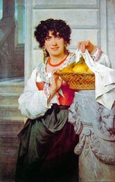 Peasant Girl with Basket of Oranges and Lemons, 1871 von Pierre-Auguste Cot | Gemälde-Reproduktion