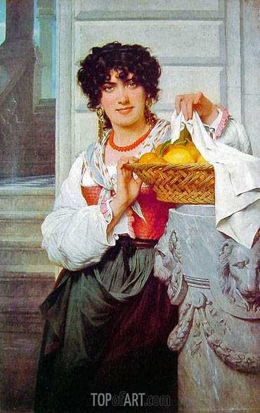 Pierre-Auguste Cot | Peasant Girl with Basket of Oranges and Lemons, 1871