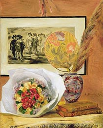 Still Life with Bouquet and Fan, 1871 by Renoir | Painting Reproduction