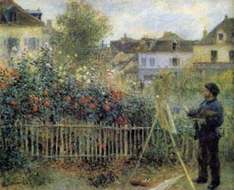 Claude Monet Painting in His Garden at Argenteuil, 1873 von Renoir | Gemälde-Reproduktion