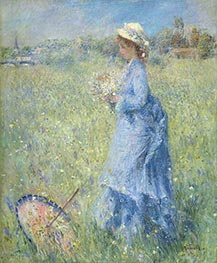 Girl Gathering Flowers, c.1872 von Renoir | Gemälde-Reproduktion