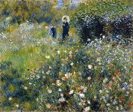 Woman with a Parasol in a Garden, 1875 von Renoir | Gemälde-Reproduktion