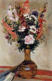 Roses in a Vase, 1872 by Renoir | Painting Reproduction