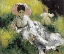 Woman with a Parasol and Child on a Sunlit Hillsid, c.1874/76 von Renoir | Gemälde-Reproduktion