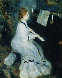 Young Woman at the Piano, 1875 von Renoir | Gemälde-Reproduktion